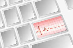 Heart pulse illustration. On keyboard Stock Images