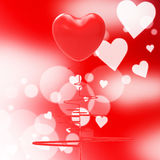Heart Pulse Indicates Valentines Day And Affection Stock Photos