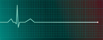 Heart pulse monitor with flatline Stock Photo