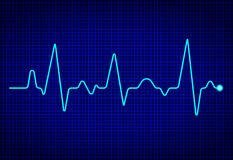 Heart pulse monitor with signal on dark blue background. Heart beat. ekg wave. Health Concept with cardiac frequency. vector royalty free illustration