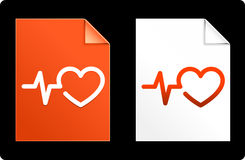 Heart Pulse on Paper Set Royalty Free Stock Photo
