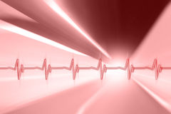 Heart pulse pattern on red motion blurred background Royalty Free Stock Images