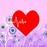 Heart Pulse Represents Valentines Day And Cardiology Royalty Free Stock Photos