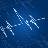 Heart pulse on screen. Heart pulse on blue screen for medicine and cardiology design Royalty Free Stock Photography
