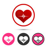 Heart pulse set logo red icon art Royalty Free Stock Photo