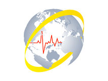 Heart pulse of world Stock Photos