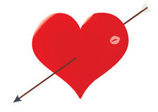The heart punched by an arrow of the Cupid. Illustration raster, the heart punched by an arrow of the Cupid, with kiss trace on a white background Stock Image