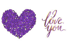 Heart of purple phlox flowers isolated on white background and lettering I LOVE YOU. Vector illustration. Heart of purple phlox flowers isolated on white Royalty Free Stock Images