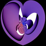 A heart. A purple weaved heart on black background Stock Photo
