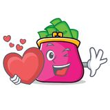With heart purse character cartoon style. Vector illustration Royalty Free Stock Photo
