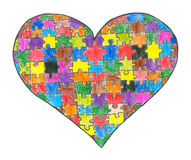 Heart puzzle. Hand drawn illustration, isolated on white background Stock Photo