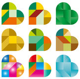 Heart Puzzle. Nine-Heart shaped Puzzle-multicolor Royalty Free Stock Photography