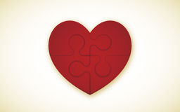 Heart Puzzle. 4 Piece Jigsaw Puzzle With Heart (each piece is an editable blend Stock Image
