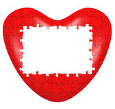 Heart puzzle 3D wtih frame. Isolated on whte Royalty Free Stock Image