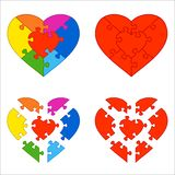 Heart puzzle. Two variants: red heart and iridescent heart Royalty Free Stock Photos