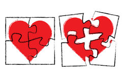 Heart in puzzle Stock Image