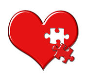 Heart with Puzzle Piece Missing. Red shiny heart with puzzle piece missing vector illustration