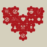 Heart puzzle and prevention of hypertension Stock Images