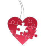 Heart puzzle tag. A heart shaped tag - jigsaw Royalty Free Stock Images
