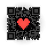 Heart in QR-code Royalty Free Stock Photo