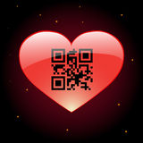 Heart with QR code Royalty Free Stock Image