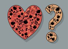 Heart and Question Mark with black floral decor. Red Heart and Yellow Question Mark with black floral decor and watercolor blurs. Vector Illustration Royalty Free Stock Photos