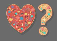 Heart and Question Mark with Folk Floral Decor stock images