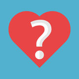 Heart with question mark. Red heart shape with question mark inside it isolated on blue background. Love, problem and uncertainty concept. Flat design. Vector Stock Photography