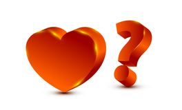 Heart and question mark. Vector concept illustration Stock Image