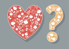 Heart and Question Mark with White floral decor. Red Heart and Yellow Question Mark with white floral decor. Vector Illustration Stock Image