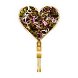Heart with radish germs. Heart shape made of golden zip, filled with germs of radish seeds royalty free illustration