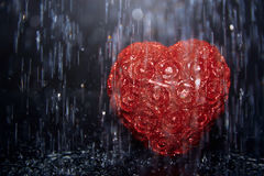 Heart in rain Stock Photography