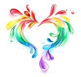 Heart of rainbow drops Stock Photography