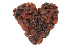 Heart of raisins isolated on white background Royalty Free Stock Image