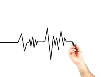 Heart Rate. A heart rate graph isolated against a white background stock photography