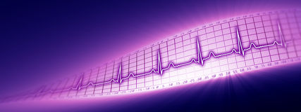 Heart rate with ECG graph in the cyberspace Royalty Free Stock Images