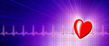 Heart rate with ECG graph in the cyberspace. Heart rate with ECG graph on the futuristic medical monitor in the cyberspace. 3D background Royalty Free Stock Photography