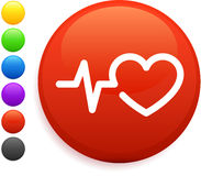 Heart rate icon on round internet button Stock Photos
