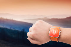 Heart rate monitor app on the smart watch screen Stock Image