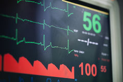 Heart Rate Monitor. During a dog surgery at a vet clinic. Shallow DOF stock images
