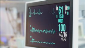 Heart rate monitor in hospital theater. Medical vital signs monitor instrument in a hospital on anesthesia surgery