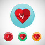 Heart rate monitor vector icon set. Stock Photography