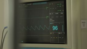 Heart rate monitor on wall of hospital ward, vital indicator analyzing, medicine stock footage