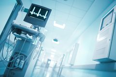 Heart rate monitoring computer in the well illuminated hospital Stock Photo