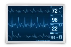 Heart Rate Monitoring Device. 3D Render Illustration. Healthcare Technology Stock Photography
