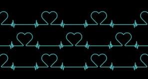 Heart rate rhythm pattern background. Blue heart rate rhythm pattern on black background stock photo