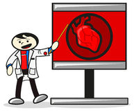 Heart in x-ray. Illustration of doctor show heart in x-ray vector illustration