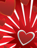 Heart ray background. Hearts on white and red ray background ray background Royalty Free Stock Image
