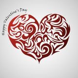 Heart red abstract tribal tattoo, decorative element vector illustration