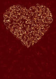 Heart on red background. Decorative template from ornate elements, illustration Royalty Free Stock Images